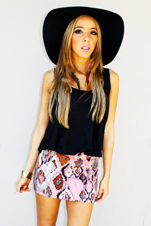 Haute & Rebellious PINK PRINT SKIRT in [option2]
