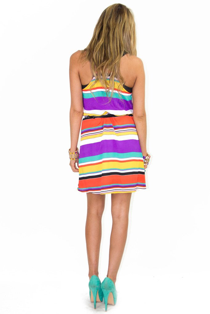 MULTI-COLOR MANDARIN NECK DRESS