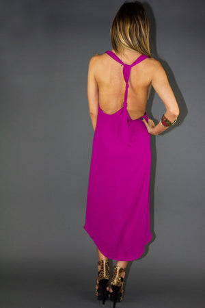 LILIAN T BACK DRESS - Fuchsia - Haute & Rebellious