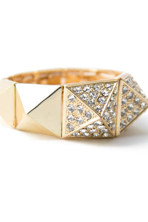 CRYSTAL PYRAMID BRACELET - Gold - Haute & Rebellious