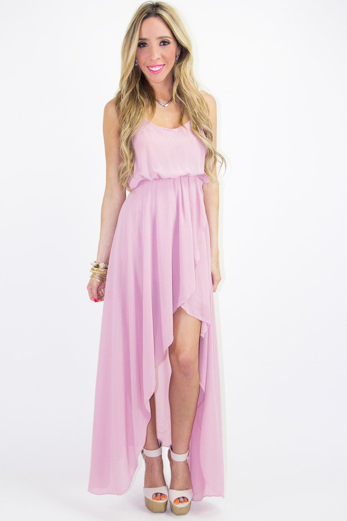 HIGH LOW CHIFFON DRESS - Pale Rose