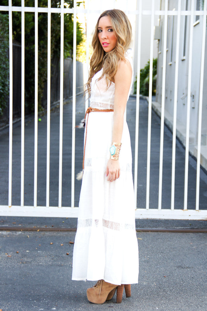 WHITE MAXI DRESS WITH LACE CONTRAST