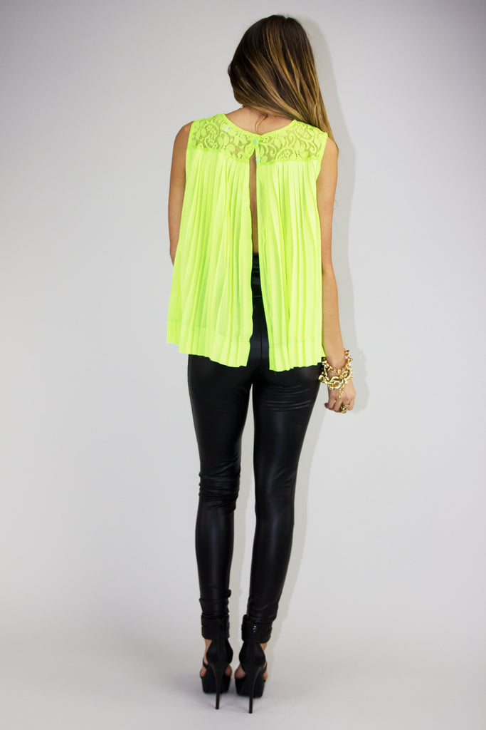 SLIT BACK LACE TOP - Neon Green (Final Sale)