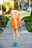 BANDAGE FRAY MINI DRESS - Orange