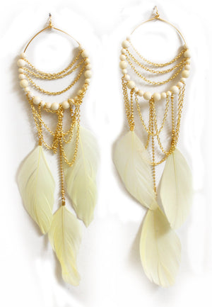 OFF-WHITE ZOE FEATHER EARRINGS - Haute & Rebellious