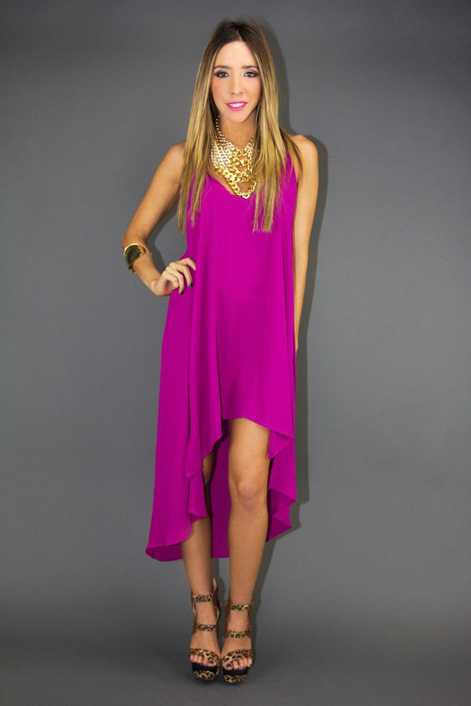 LILIAN T BACK DRESS - Fuchsia