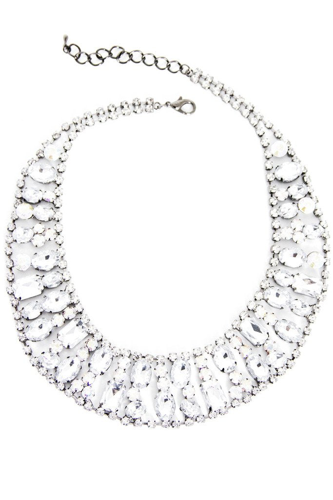 CRYSTAL ROUND NECKLACE - silver