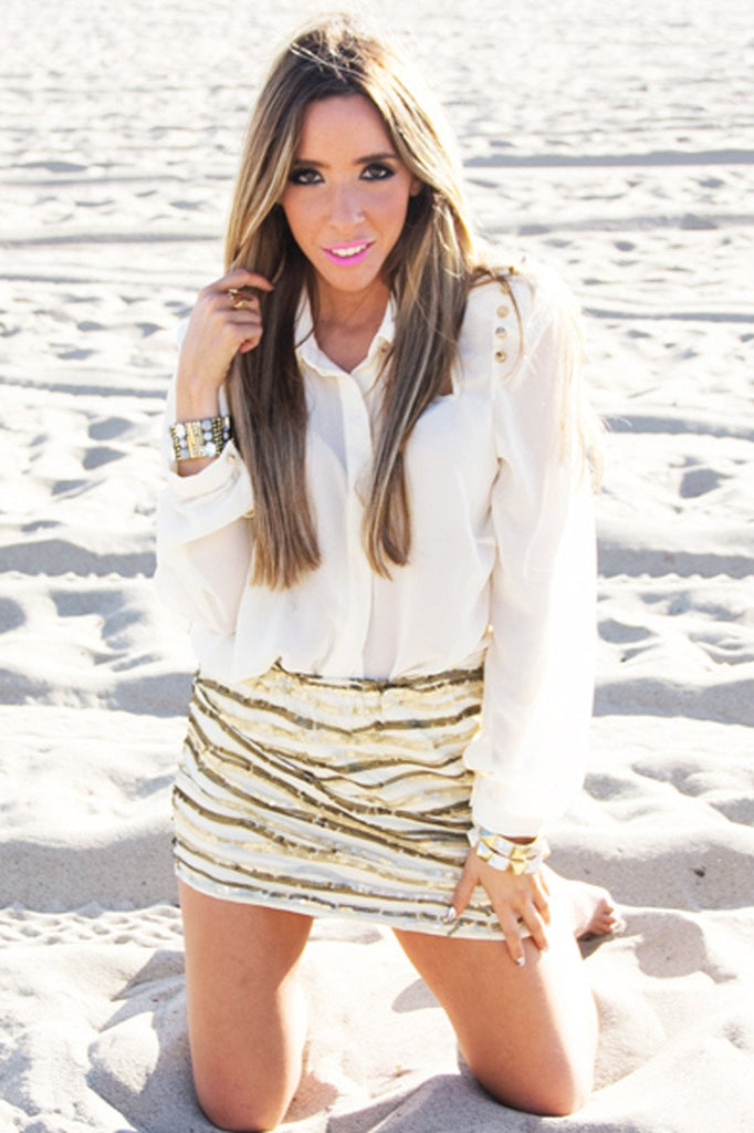 HEART & SOUL SEQUIN SKIRT - Beige/Gold