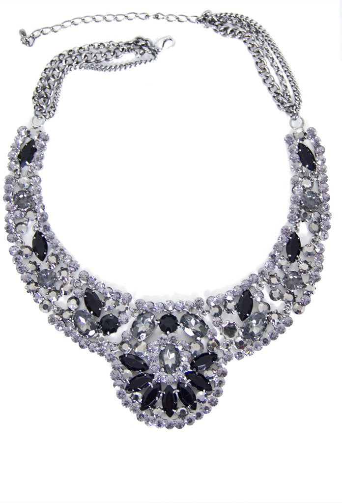 MADELYN CRYSTAL NECKLACE - black