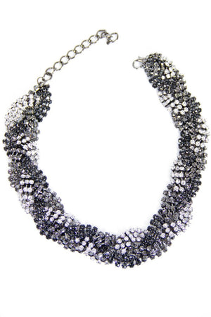 LAUREN CRYSTAL CHAIN NECKLACE - Black/Silver - Haute & Rebellious