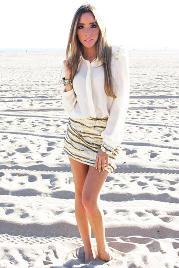 HEART & SOUL SEQUIN SKIRT - Beige/Gold - Haute & Rebellious