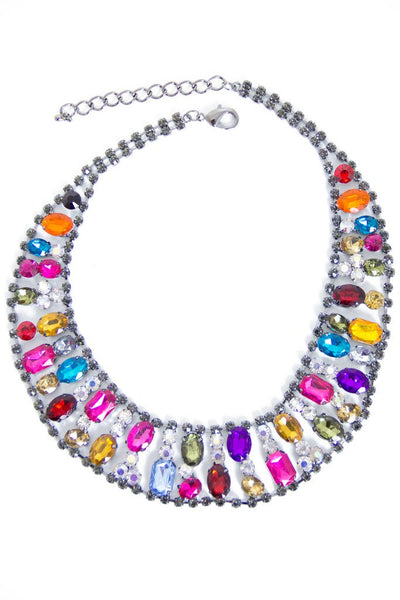 CRYSTAL ROUND NECKLACE - multi color