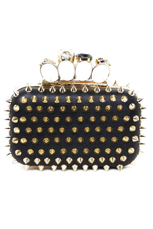 GOLD SPIKE KNUCKLE CLUTCH - Black - Haute & Rebellious