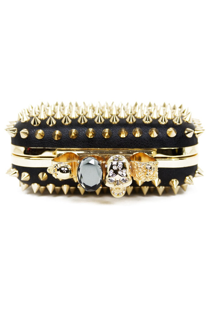 GOLD SPIKE KNUCKLE CLUTCH - Black