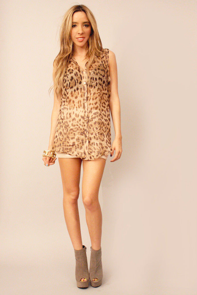 SLEEVELESS LEOPARD CHIFFON BACK CUTOUT - Haute & Rebellious