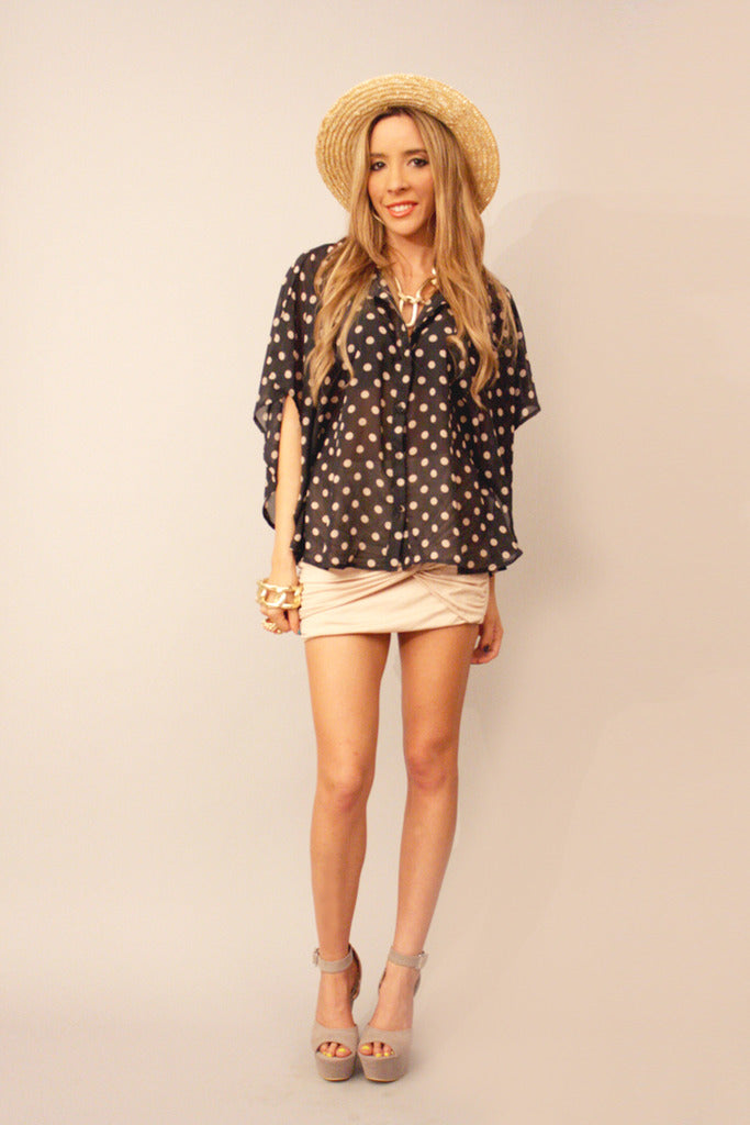 POLKA DOT CHIFFON BLOUSE - Black (Final Sale)
