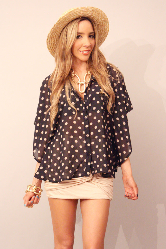 POLKA DOT CHIFFON BLOUSE - Black (Final Sale) - Haute & Rebellious