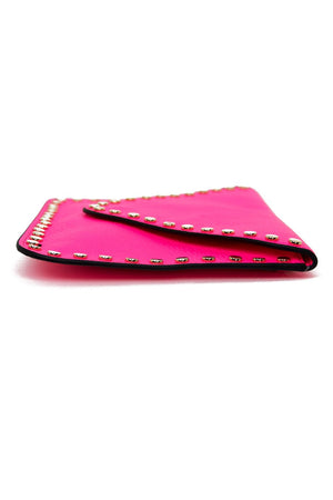 GOLD STUDDED BORDER ENVELOPE CLUTCH - Neon Pink - Haute & Rebellious