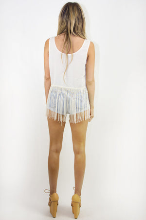 ROCKER FRINGE CROPPED TOP - Salvage White - Haute & Rebellious