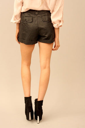 Haute & Rebellious BLACK LEATHER TIE SHORTS in [option2]
