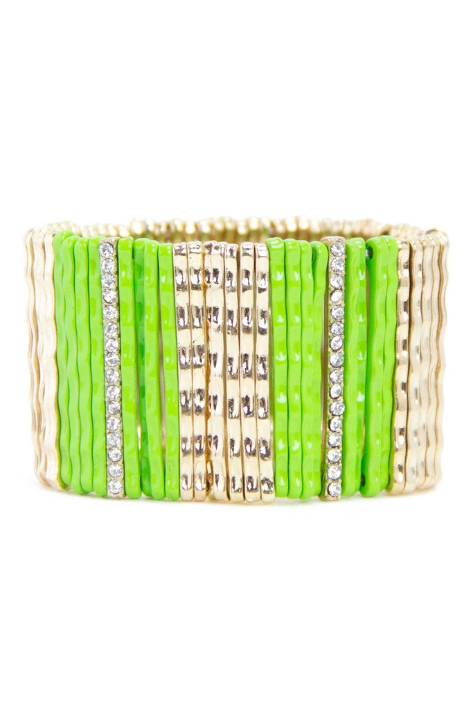 NEON GREEN & GOLD BRACELET - Haute & Rebellious