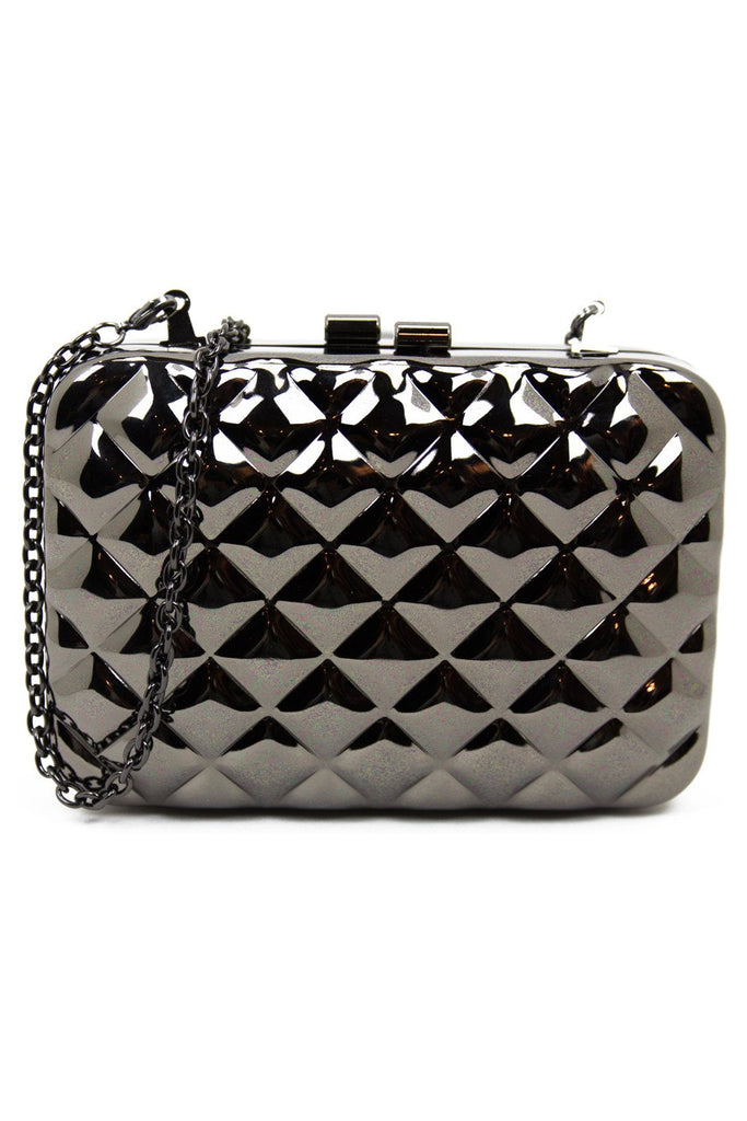 METALLIC QUILTED DESIGN CHAIN BAG - Silver