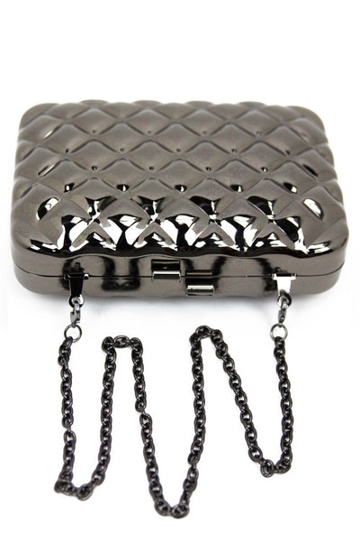 METALLIC QUILTED DESIGN CHAIN BAG - Silver - Haute & Rebellious