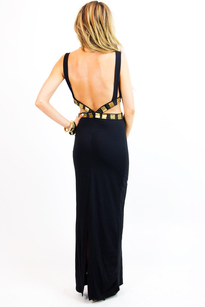 CASSANDRA CUTOUT DRESS WITH GOLD TRIM - Black