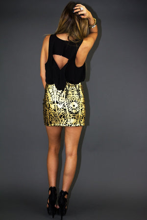 METALLIC ROCOCO SKIRT - Gold/Black (Final Sale) - Haute & Rebellious