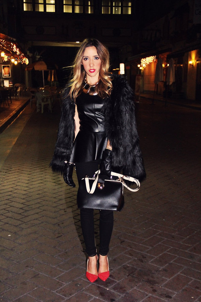 FAUX FUR COAT - Black