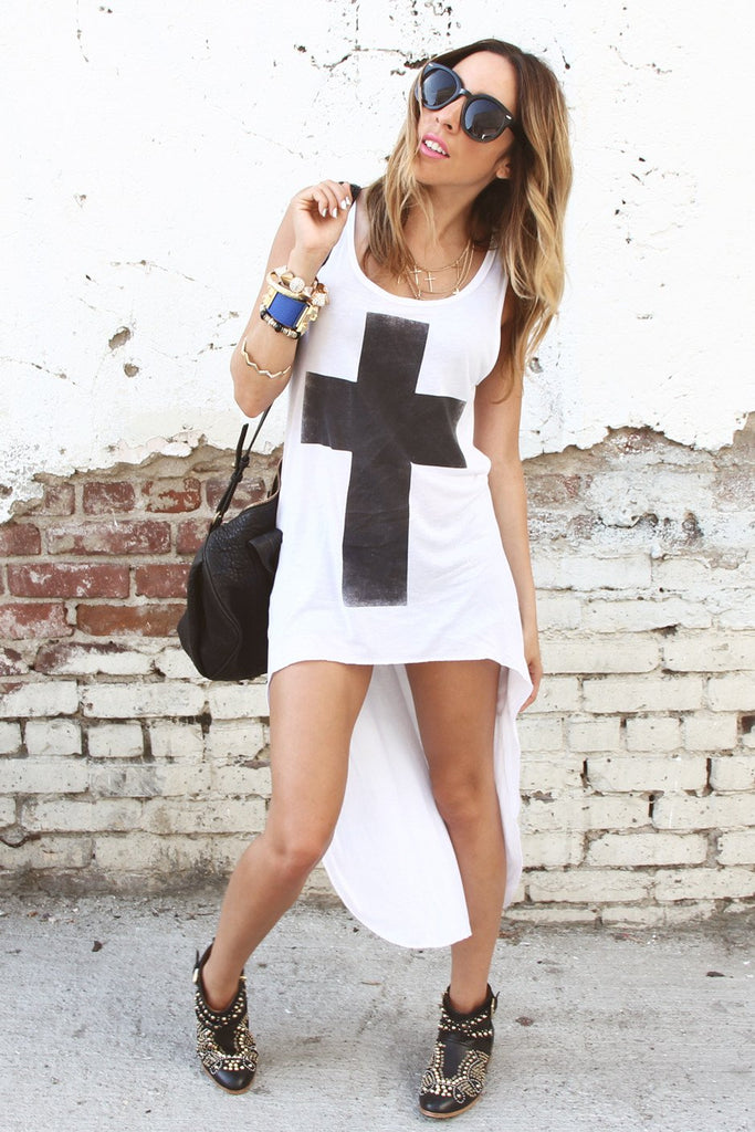 HIGH-LOW BOLD CROSS PRINT TANK
