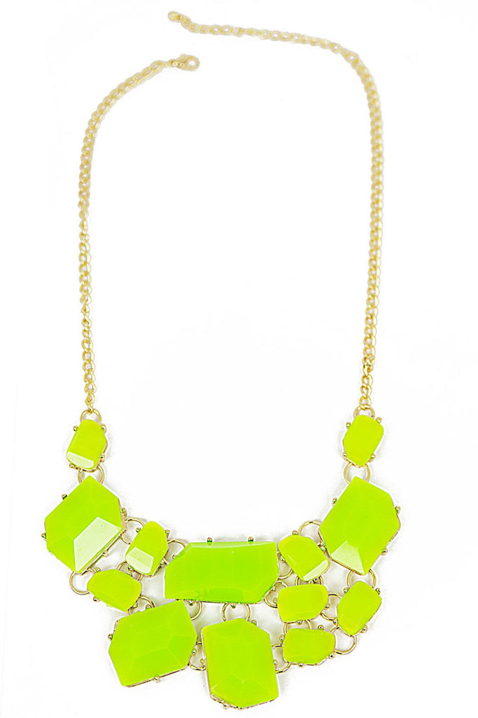 BIG STONE NECKLACE - Neon Green