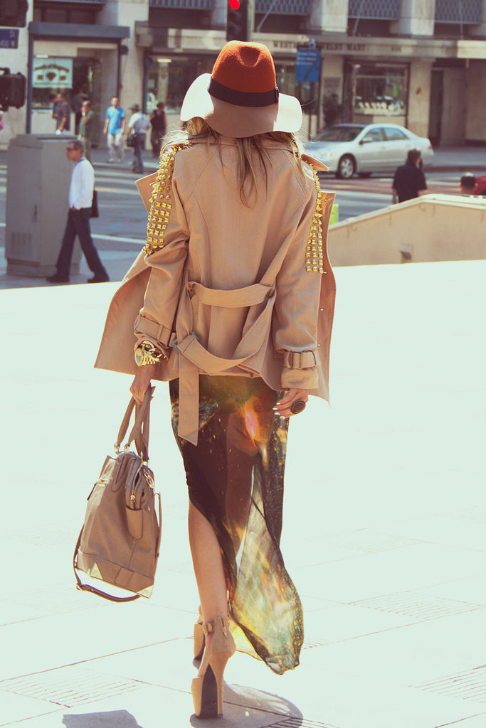 STUDDED TRENCH COAT - Beige