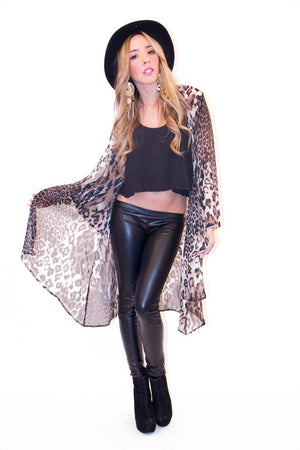 LONG LEOPARD CHIFFON CARDIGAN - Haute & Rebellious