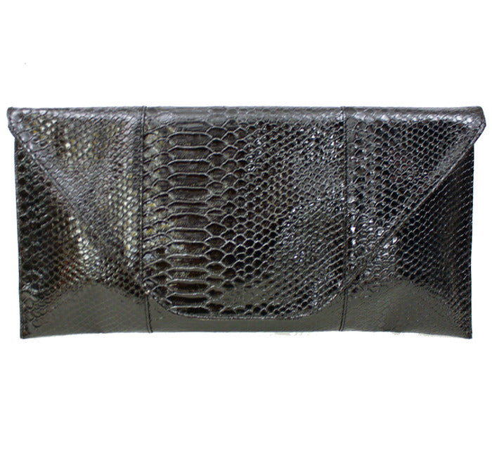 Haute & Rebellious SNAKESKIN ENVELOPE CLUTCH in [option2]