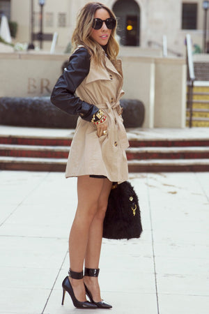 LEATHER CONTRAST SLEEVES TRENCH COAT - Haute & Rebellious