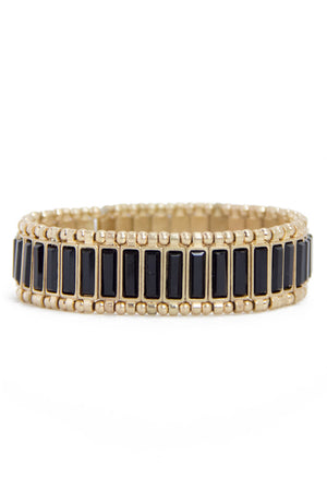 ROW STONE BRACELET - Black/Gold - Haute & Rebellious
