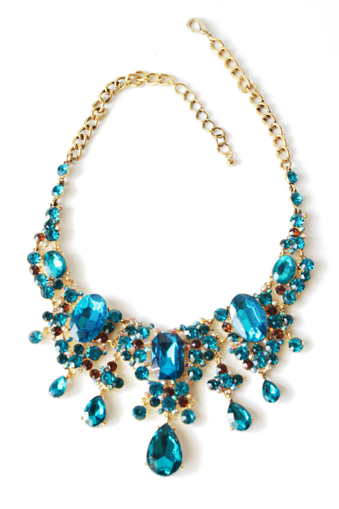 Haute & Rebellious WATERFALL CRYSTAL STONE  NECKLACE - blue in [option2]