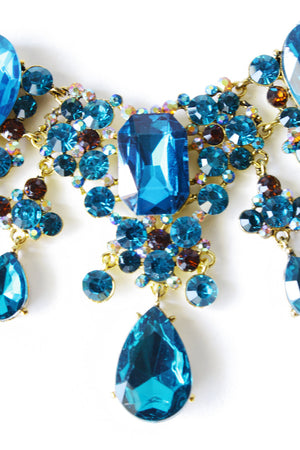 WATERFALL CRYSTAL STONE  NECKLACE - blue - Haute & Rebellious