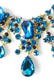 WATERFALL CRYSTAL STONE  NECKLACE - blue