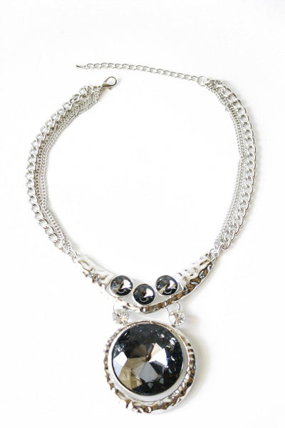 ISSA BIG STONE COLLAR NECKLACE - silver