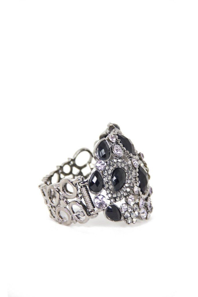 CRYSTAL & BLACK STONE BRACELET (Final Sale) - Haute & Rebellious