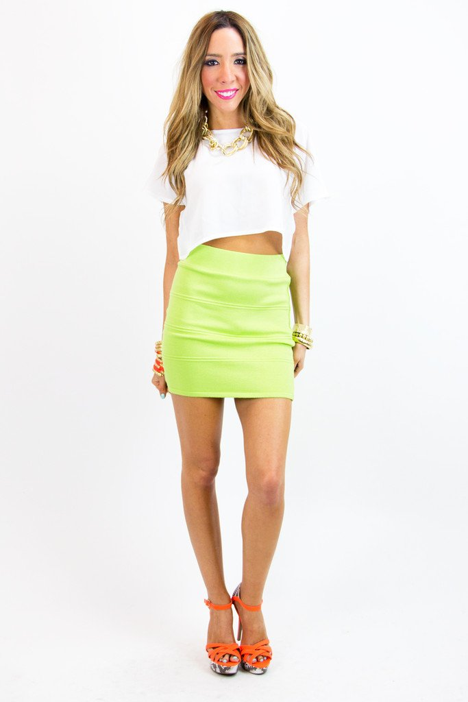 BANDAGE MINI SKIRT - Neon Green