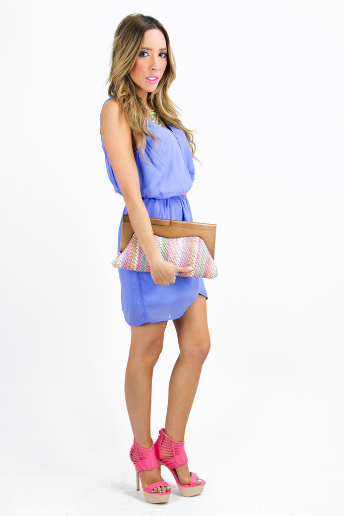 STELLA CHIFFON DRESS - Blue