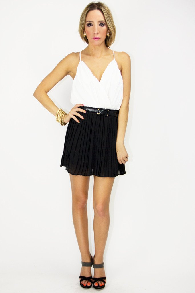 DEMI CHIFFON PLEATED SKIRT - Black