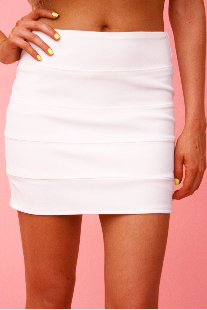 LANA BANDAGE MINI SKIRT - White (Final Sale)