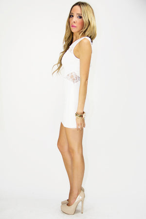 WHITE CONTRAST LACE DRESS - Haute & Rebellious