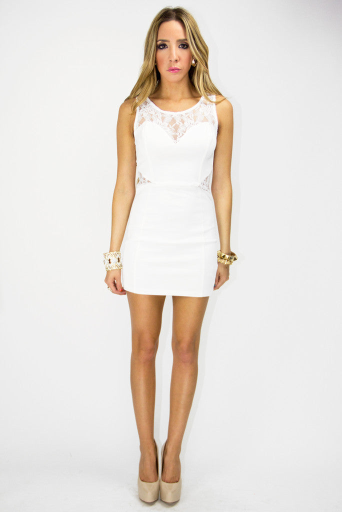 WHITE CONTRAST LACE DRESS