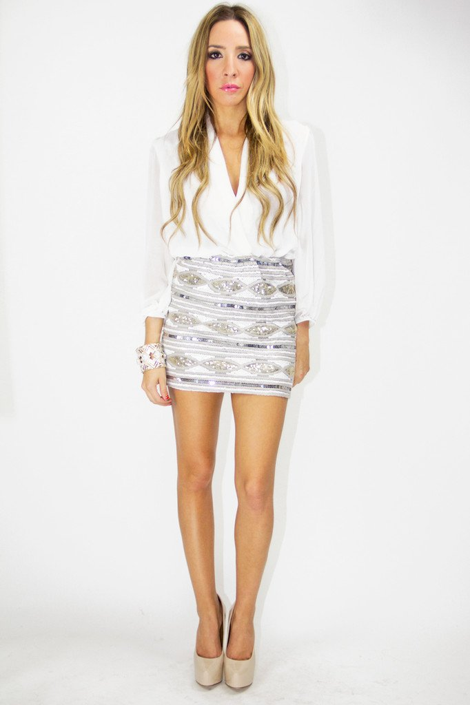 GISELE SEQUIN SKIRT - Silver