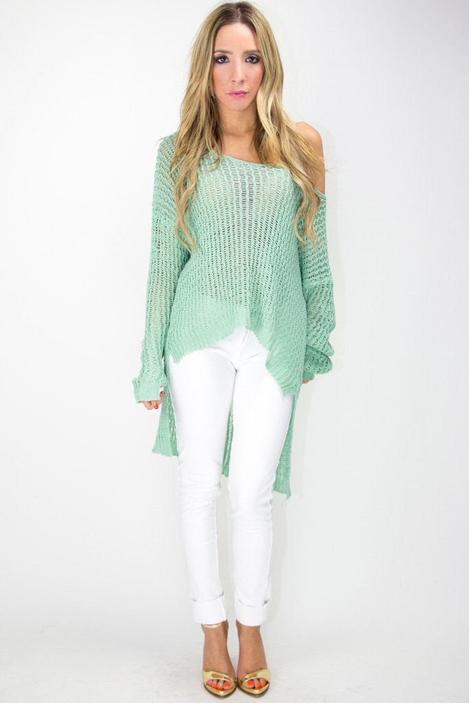 HIGH LOW SWEATER - Electric Mint
